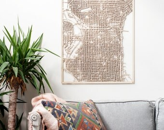 LARGE Custom Woodcut Philly Map