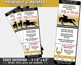 Kentucky Derby Equestrian Party Ticket Invitation, Printable with Printed Option, Horse Racing Party