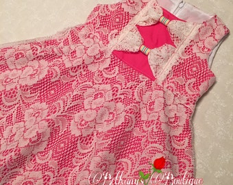 Hot pink and lace 2T party dress