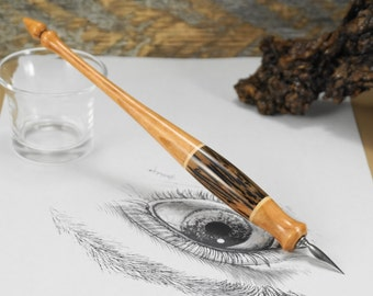 Straight Calligraphy Nib Holder Bocote By Timbertoneswoodworks