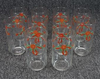 Holiday Drinking Glassware Poinsettia Motif Set Of 10