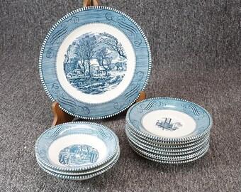 Vintage Royal Currier & Ives Blue 12 Piece Dinnerware Set c. 1950s