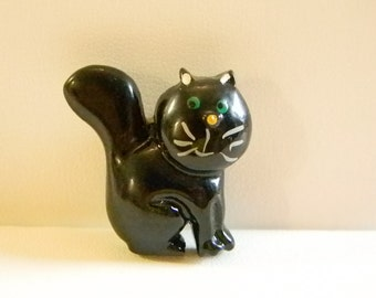 Black Kitty Cat Button Cover