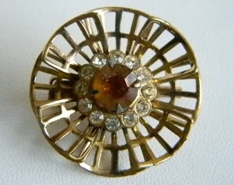 Vintage Gold Tone CORO Pin Brooch Amber Clear Rhinestones
