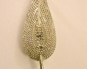 Vintage Silver Tone Textured Leaf With Three Rhinestones Pin Brooch