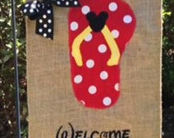 Mouse Flip Flop Burlap Outdoor Garden Flag Door Hanger