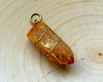 Imperial Gold Quartz Pendant wrapped in .925 Sterling Silver w/bale
