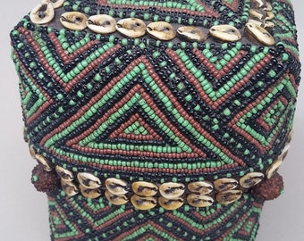 Antique intricately hand beaded Sumtran bridal basket