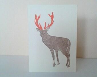 Deer handprinted card