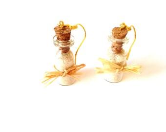 KO PHI PHI -- Miniature bottles earrings with Phi Phi sand and raphia, golden hooks