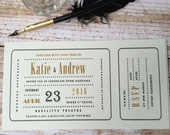 Wagtail Designs (Pack of 25) Wedding Invitations in a cinema ticket art deco style