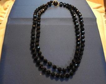 Vintage Black Onyx Glass Bead Necklace