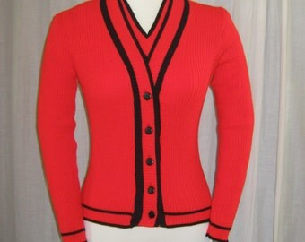 VINTAGE 1970s twin Set Cardigan and Vest Never Worn Size Small Red and Black Deadstock