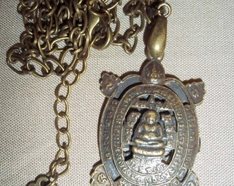 MEDITATING BUDDHA on turtle Amulet Necklace. Double Sided. Blessed in Thailand. Protection, Devotion. Men or Women. BUDDHIST.