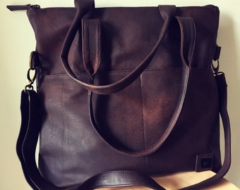 Shoulder tote bag with zip, crossbody strap. Our Traveller bag is so unique.Long strap and stitched handles the perfect,lined shoulder bag