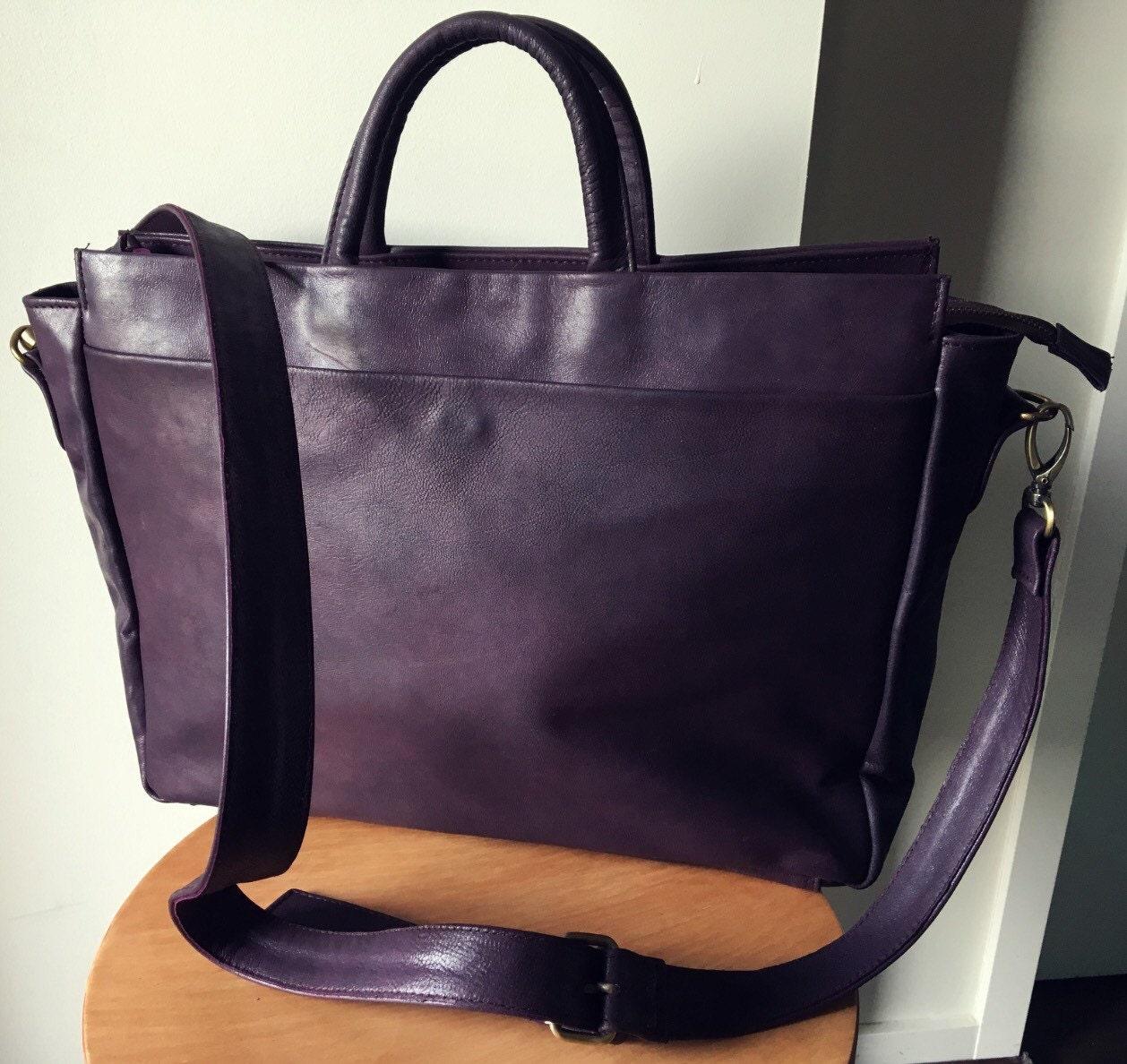 Genuine leather work laptop compendium, computer tote bag.Classy ...