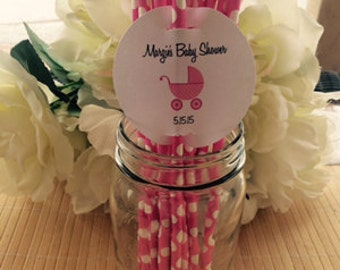 24 Personalized baby shower straw tags, baby shower straw favors, boy or girl baby shower favors,  straw holders, lollipop tags