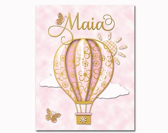 Nursery wall art pink gold baby girl room decor toddler artwork kids decoration custom name poster hot air balloon shower decoration gift