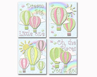 Baby girl nursery wall art newborn room decor pink green hot air balloons poster oh the places you 'll go dream big little one decoration