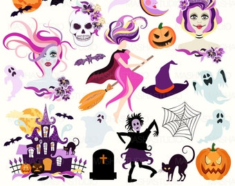 """Halloween clip art: """"HALLOWEEN CLIPART"""" with witch clipart, ghost clipart, pumpkin clipart, zombie clipart, 21 images, 300 dpi. PNG files"""