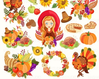 """Thanksgiving clip art: """"THANKSGIVING CLIPART"""" with pumpkin clipart, turkey clipart, horn of plenty clipart, 18 images, 300 dpi. PNG files"""