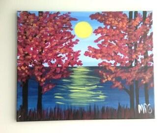 Fall Tree Painting, Sunset Painting, Sunset Art, Red Tree painting, Water Painting, Landscape Painting, Landscape Art, Nature Art, Nature