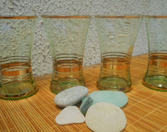 Vintage 1950s Glasses -  Set of Four Green Glass with Gilded Design