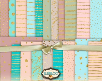 SOULFUL - Great Bundle! 28 large holidays shabby chic gold digital collage sheets - papers for scrap jpg instant download printable - pp325