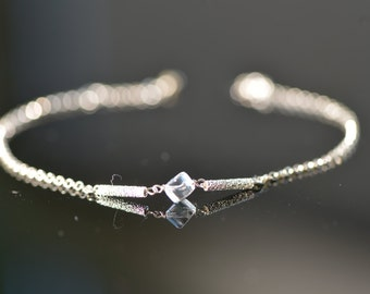 Sterling Silver Chain Bracelet with Rock Crystal