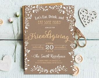 Friendsgiving Invitation Printable, Friendsgiving Party Invitation, Friendsgiving Dinner Party, Thanksgiving Dinner Party Invitation