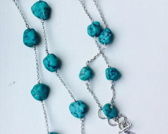 Sterling Silver and Turquoise Long Necklace