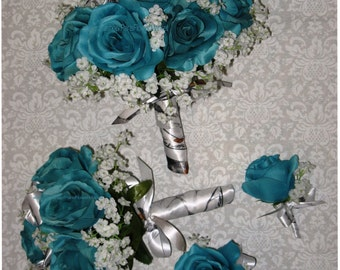 New Artificial Turquoise Bridal Bouquet, with True Timber White Snowfall Ribbon and White Baby's Breath.