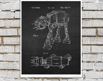 Star Wars print #9 AT-AT Imperial Walker Patent Poster, Star Wars Decor, Star Wars Boys Room Decor,  Star Wars Gift for Kids, Sci-Fi decor