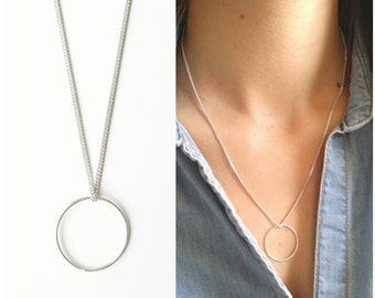 Pendant necklace solid silver circle 925 - necklace round circle, ring Silver 925/000 - Circle 925 silver sterling necklace