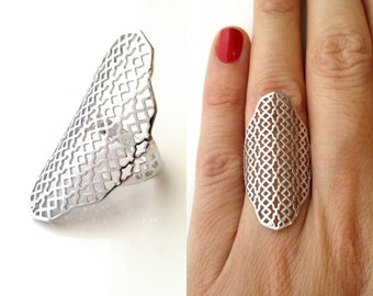 Ring Silver 925 - high ring, perforated pattern - rising ring Silver 925/000 - many sizes - 925 silver rings