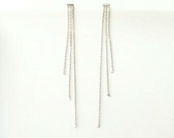 Earrings silver chains 925 - triple dangling silver chains 925/000 - 925 silver sterling earrings