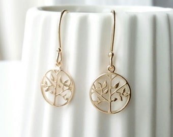 Tree of life plated 18 k gold - plated dangling earrings 750/000 - tree of life earrings, 750 yellow gold plated