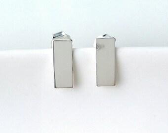925/000 - rectangle, line, bar - earrings minimalist - minimalism earrings 925 silver sterling silver earrings