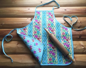 Unique Quilted Fabric Reversible Apron in Spring Blooms