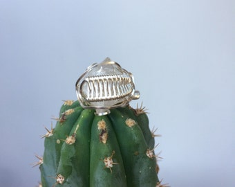 Handmade Large Double Terminated Clear Quartz Statement Ring