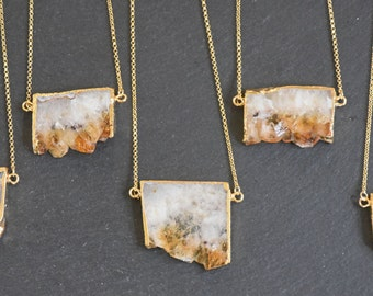 Raw Citrine Amethyst Slice Geode Pendant Gold Plated Necklace