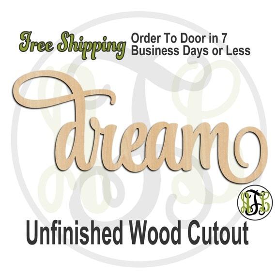 dream - 320017SSt- Word Cutout, unfinished, wood cutout, wood craft, laser cut wood, wood cut out, Door Hanger, wooden sign, wall art