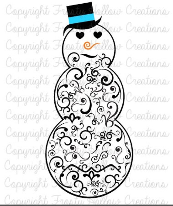 Swirls Snowman cutting file SVG instant download PERSONAL USE only!