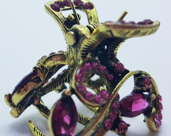 New Small Ruby Crystal  Gold 3/4'' Hair Claw Clip
