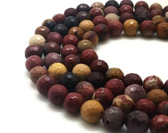 6mm Natural Mookaite Beads Faceted Round 6mm Mookaite 6mm Faceted Mookaite Faceted Gemstone Faceted Stone Faceted Mala Faceted Beads