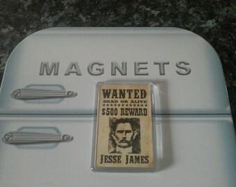 Jesse James Wanted Poster Fridge Magnet. Wild West