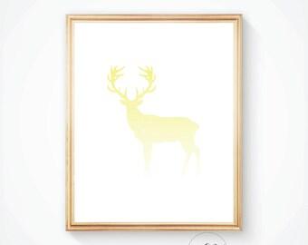 Deer wall art, Yellow deer, Nursery print, Yellow nursery art, Deer print, Deer wall print