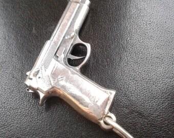Berette pistol gun sterling silver 925 mens pendant charm necklace