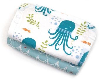 New baby burp cloth set - octopus - burp cloth set - absorbent organic cotton; organic baby burp cloths; baby burp rags; organic burp cloth