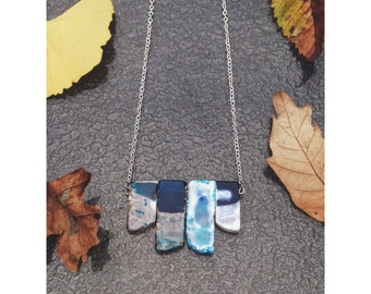 Blue Oceanic Agate Slab Necklace